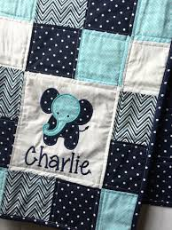Elephant Baby Quilt with appliqué and name. Boy Baby Quilt, Blue ... & Elephant Baby Quilt with appliqué and name. Boy Baby Quilt, Blue Baby Quilt… Adamdwight.com