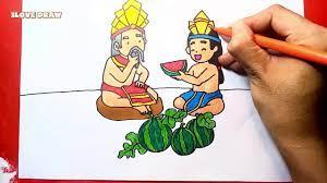 Vẽ Sự Tích Dưa Hấu - Cách vẽ sự tích dưa hấu - Vẽ truyện cổ tích dưa hấu -  mai an tiêm - YouTube