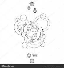 геометрические рыбы символ векторное изображение Kronalux 133784824