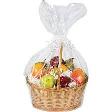 large cellophane basket bag clear