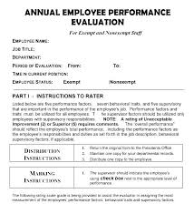 Sample Employee Performance Appraisal Sample Employee Review Template