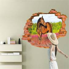 3d broken wall pattern wall stickers horse wall decals vinyl stickers room decor  on horse wall decor stickers with 3d broken wall pattern wall stickers horse wall decals vinyl