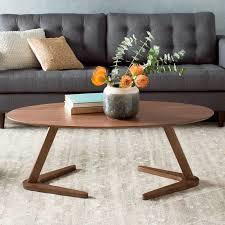 modern wooden oval danish coffee table