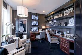 Home office wallpaper Duck Egg Striped Wallpaper Sets The Mood In This Glamorous Home Office design Mi Decoist 30 Black And White Home Offices That Leave You Spellbound