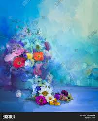 oil painting flowers in vase hand paint still life bouquet of white yellow and