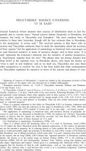 Thucydides Source Citations It Is Said The Classical Quarterly