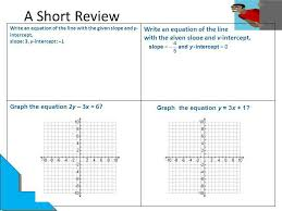 a short review write an equation of the line