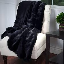 lavish home black luxury long haired faux fur throw 61 74 bl the home depot
