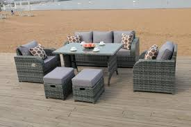 grey rattan dining table. lotus rattan garden furniture set sofa dining table chairs conservatory outdoor grey rattan dining table