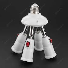 E27 Splitter 4 Heads Lamp Base Adjustable Led Light Holder Adapter Socket