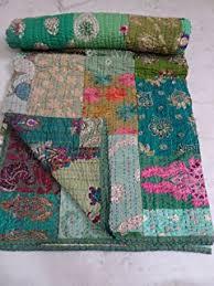 Amazon.com: Kantha Quilts Indian Handmade Kantha Quilt Queen Size ... & Patola Cotton Patch Work Kantha Quilt , Kantha Blanket Bedspread, Patch  Kantha Throw, King Adamdwight.com