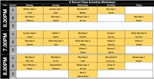 O School Open Class Schedule