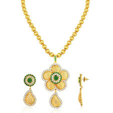 spargz fl gold plating emerald cz diamond pendant necklace and drop earrings for women
