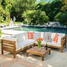 room 4 piece outdoor wooden sectional set w dark grey cushions excellent winning ravello decorating