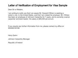 Employment Verification Letter For Visitor Visa Sample