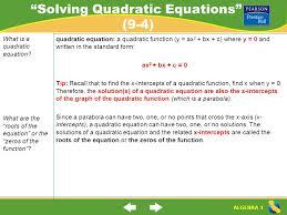 2 solving quadratic equations