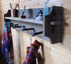 Country Coat Racks Railroad Spike Coat Rack Wall Shelf of reclaimed wood and salvaged 28
