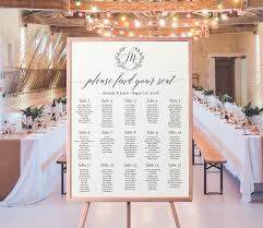 Wedding Seating Chart Printable Monogram Seating Plan
