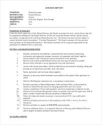 job description for a dentist sample dental assistant job description 8 examples in pdf word