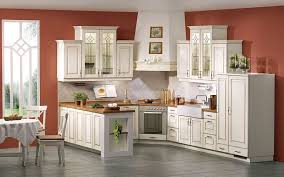 color schemes for kitchens with white cabinets. alluring antique white cabinets combined with wooden countertop and brown room painting color schemes for kitchens n
