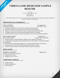 Technical Designer Resumes Video Game Designer Resume Sample Resumecompanion Com Resume