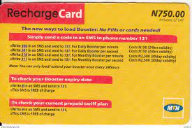 A rechargeable calling card or a recharge card is a type of telephone card that the user can recharge or top up by adding money when the balance gets below a nominated amount. Nigeria Nigeria Mtn Recharge Card N 750 Used