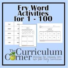 fry first hundred printables the curriculum corner   first 100 fry words practice pages
