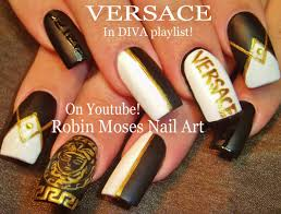 Robin Moses Nail Art: Soft Tan with Black and Gold Winter Diva ...