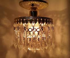 schonbek vintage small crystal chandelier flush mount ceiling one bulb 6 5