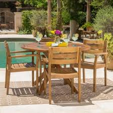 round outdoor dining sets. Stamford Outdoor 5-piece Round Acacia Wood Dining Set By Christopher Knight  Home Round Outdoor Dining Sets