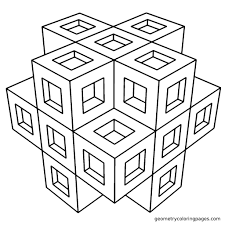 Small Picture Free Printable Easy 3d Geometric Pattern Coloring Pages To Print