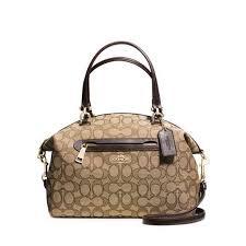 Coach Prairie Ladies Medium Leather   Canvas Satchel Black Smoke Handbag  58875