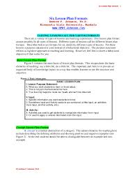 Format For Lesson Plans Pdf Planning For Learning Six Lesson Plan Formats Andrew