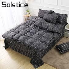 solstice home textile dark gray bedding set geometric plaid simple duvet cover flat sheet pillowcase teenage man bed linen