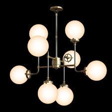 restoration hardware bistro globe milk glass 8 light chandelier