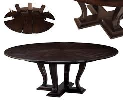 ebonized expandable round dining table with self storing leaves