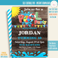 Printable Pool Party Invitation Pool Party Invite Pool Party Templates Instant Download Self Editable Pdf A273