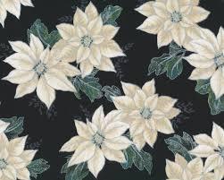 Metallic Patchworkstoff Winter Blossom Weihnachtsstern Blüten Schwarz Helles Beige