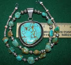 navajo zuni kingman turquoise nugget gemi bench beads large pendant sterling 1759878193