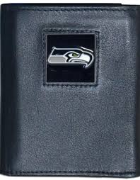 seattle seahawks executive black leather trifold wallet