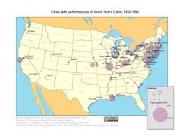 studying the many sided civil war bowdoin news one of the maps created by kearon and rael depicting cities performances of uncle tom s cabin 1852 1880 click to enlarge