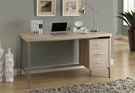 long office desk. Amazon.com: Monarch Reclaimed-Look/Silver Metal Office Desk, 60-Inch, Natural: Kitchen \u0026 Dining Long Desk L
