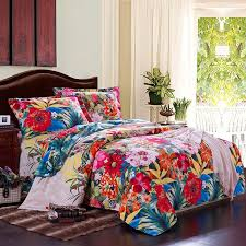 peacock blue orange and red colorful flower country garden tropical hawaiian style 100 brushed cotton full queen size bedding sets