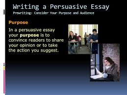 writing workshop writing a persuasive essay assignment prewriting 6 writing a persuasive essay prewriting consider your purpose and audience purpose in a persuasive essay your purpose is to convince readers to share your