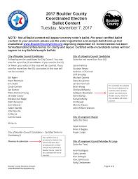 2017 Boulder County Coordinated Election Ballot Content Tuesday, November  7, 2017