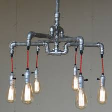 industrial chandelier with bare edison bulbs in silver finish 6 lights