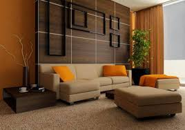 Brown & Orange Living Room Color Schemes Ideas | House Decorating Ideas  (Wall treatment idea
