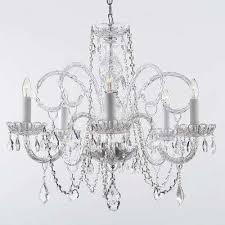 venetian 5 light swarovski crystal trimmed plug in chandelier