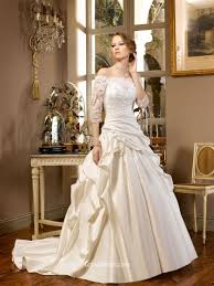 taffeta off the shoulder winter wedding dress with lace appliques