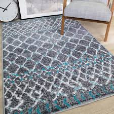 moroccan duck egg blue grey living room rug distressed geometric trellis rugs uk